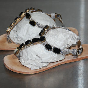 7deb83aad Cynthia Vincent Flat Thong Sandals Leather Jewel